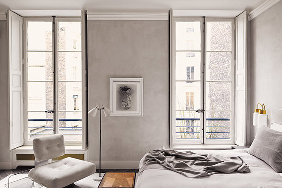 Joseph-Dirand-Parisian-minimalist-apt-bedroom-stucco-walls