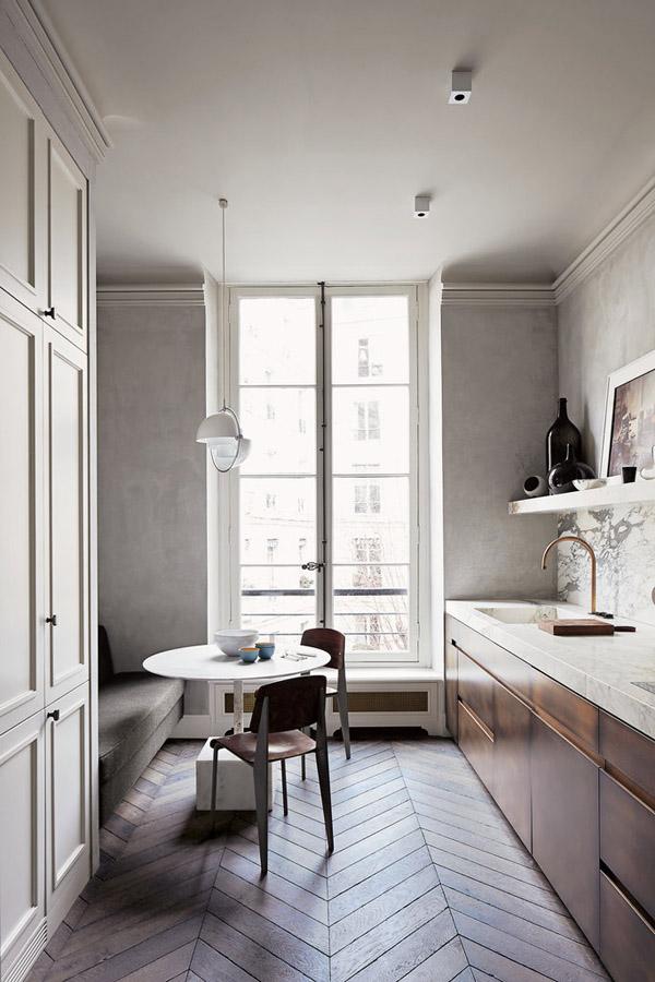 Joseph-Dirand-Parisian-minimalist-apt-kitchen-eat-in-herringbone-wood-floors
