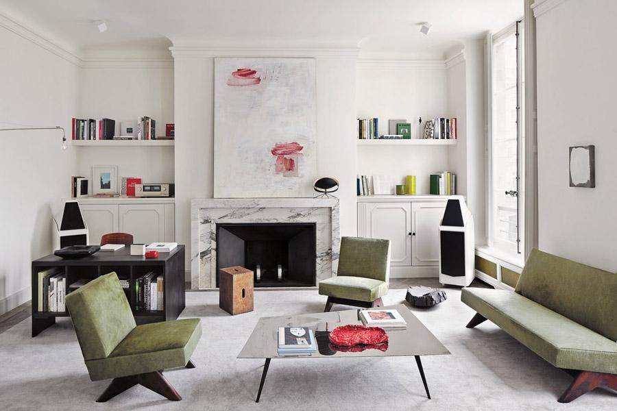 Joseph-Dirand-Parisian-minimalist-apt-living-room-Le-Corbusier-vintage-Pierre-Jeanneret-painting-by-Lawrence-Carroll