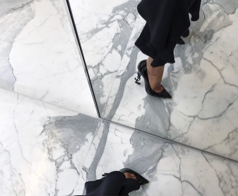 YSL - Saint Laurent logo heels - sophia roe