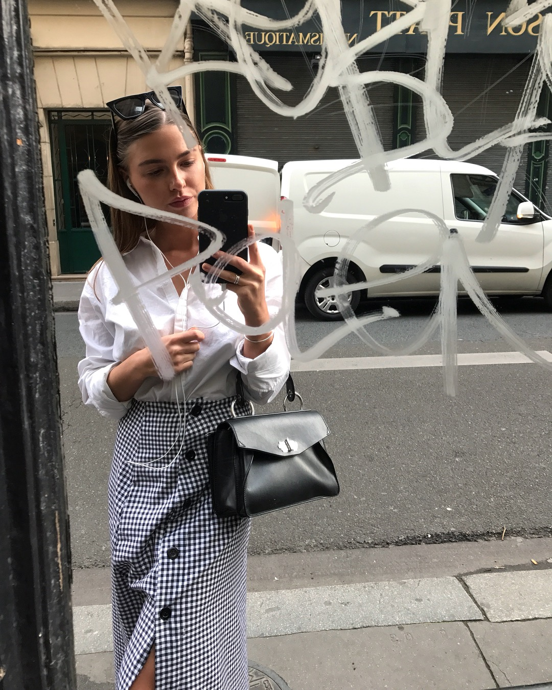 checked maxi skirt with white shirt in PARIS