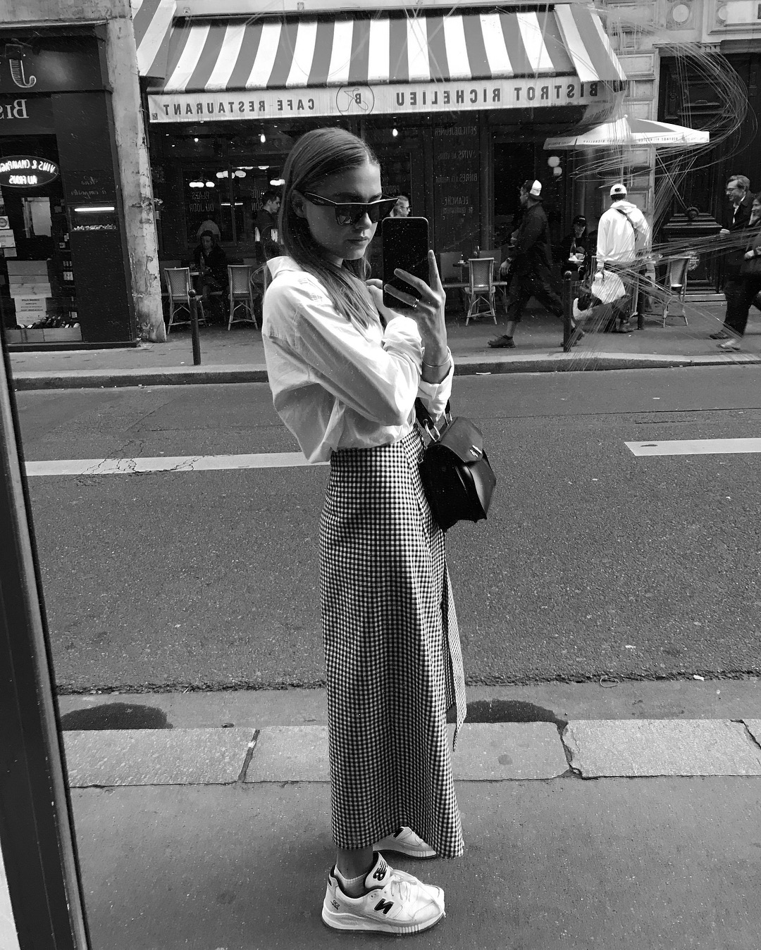 checked maxi skirt with white shirt in PARIS -1